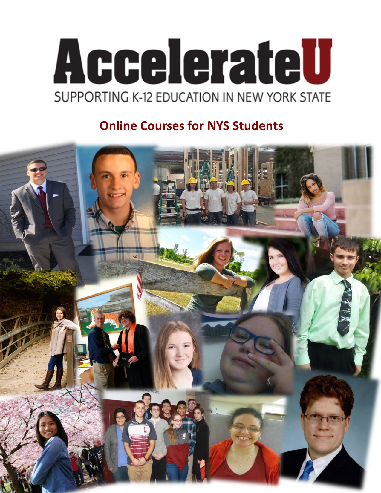 AccelerateU Guide featuring former students from various districts